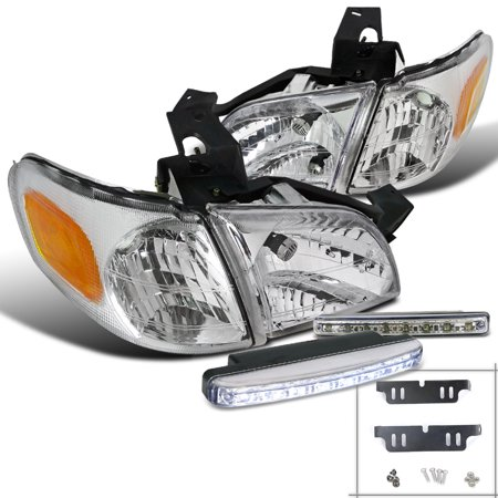 Spec-D Tuning 1997-2005 Chevy Chevrolet Venture Montana Silhouette Trans Sport Chrome Headlights + 8-Led Bumper Light (Left + Right) 1997 1998 1999 2000 2001 2002 2003 2004 2005