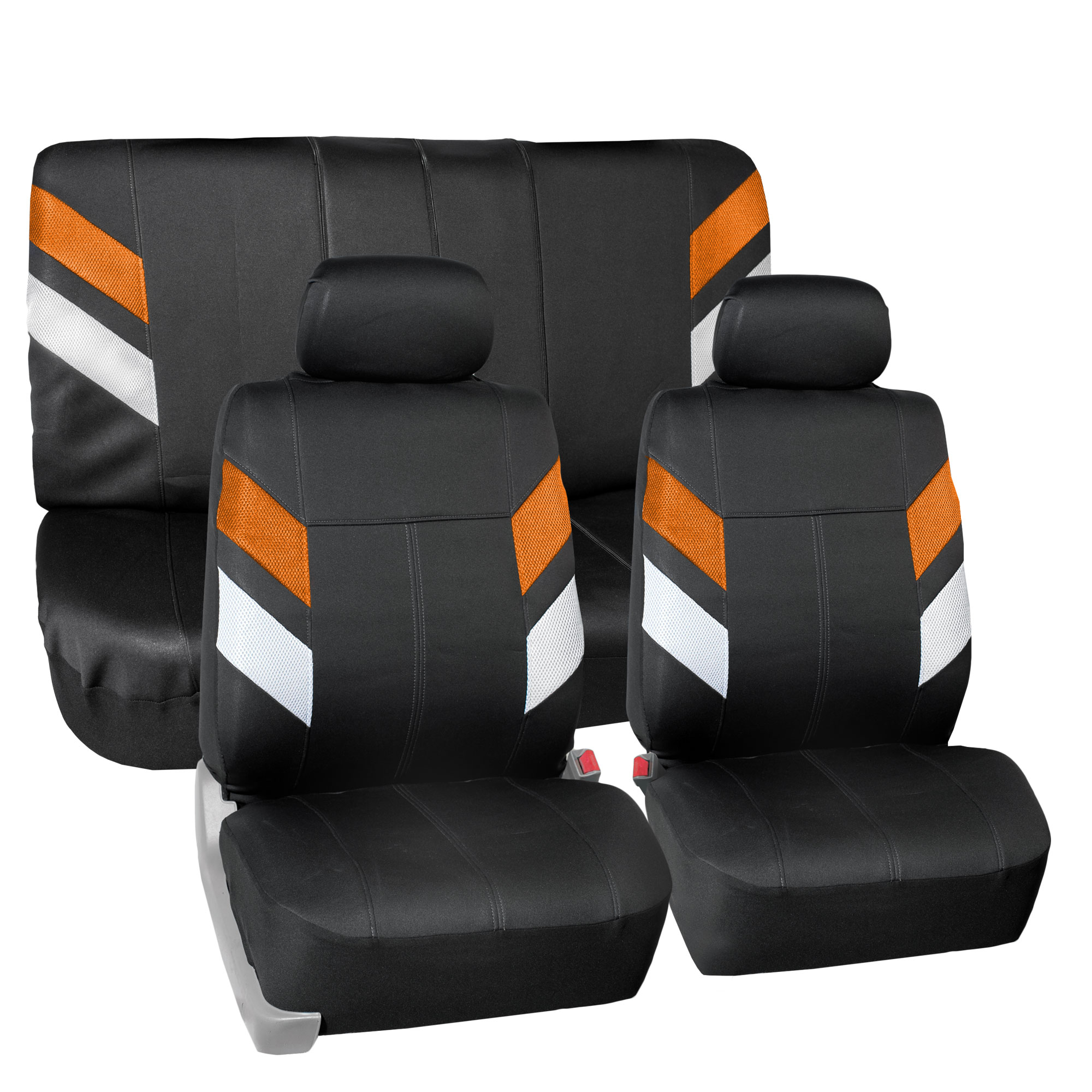 FH Group, Neoprene Car Seat Covers for Auto Car SUV Van 2 Headrest Full Set 12 Colors