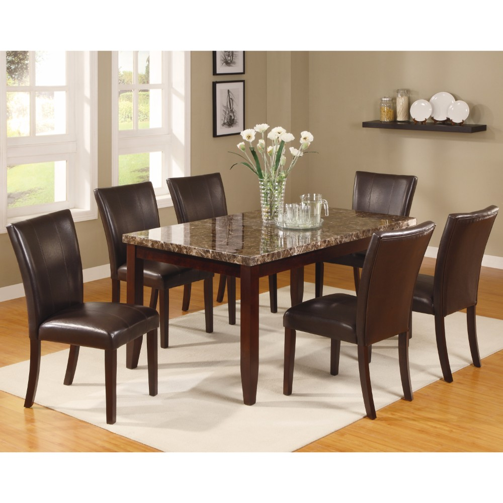 Gracious Dining Table With Marble Top, Brown