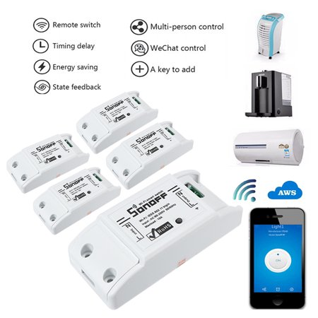 5Pcs SONOFF DIY Wi-Fi Wireless Switch For Smart Home With ABS Shell Socket Remote Control Switch Module