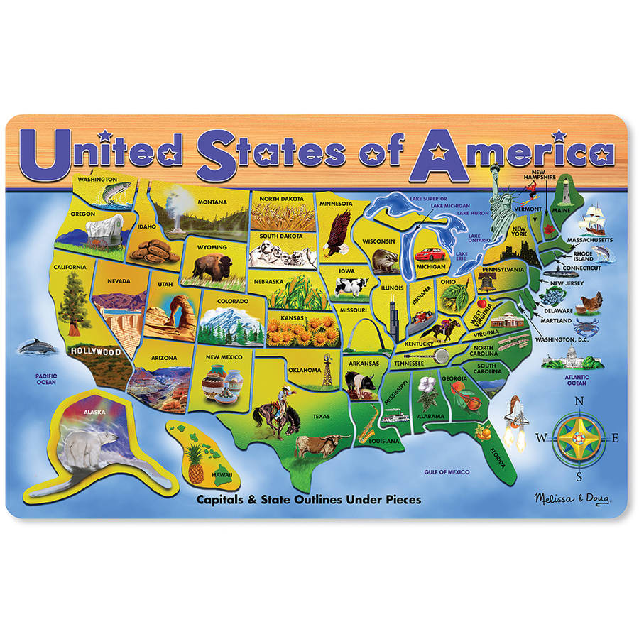Melissa & Doug USA Map Wooden Puzzle, 45pc by Generic
