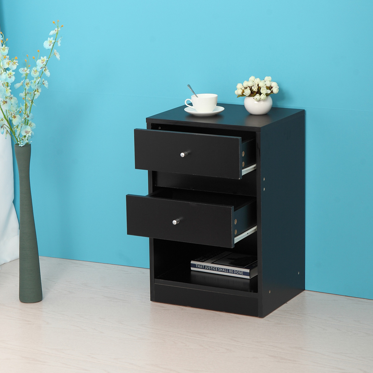 Jaxpety Nightstands End Table Bedroom Furniture Bedside Cabinet  Shelf  2 Drawer Black
