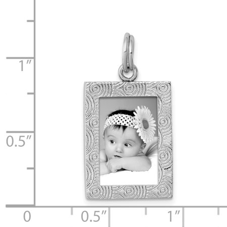 Sterling Silver Rhodium-platedPolished Picture Frame Charm QC6804 (25mm x 15mm) - image 2 de 2