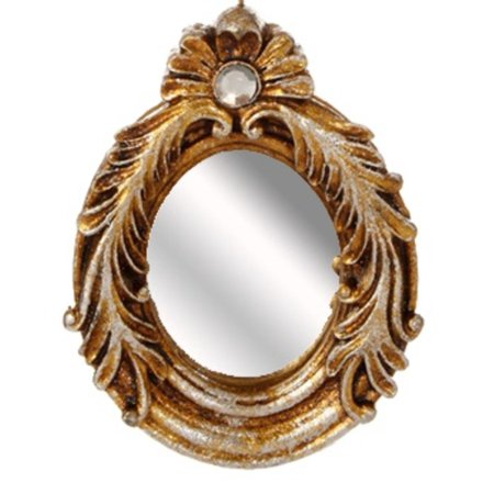 """4.5"""" Distressed-Finish Antique Gold Glitter Oval Mirror with Scroll Accents Christmas Ornament - image 1 of 1"""