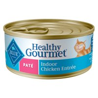 (24 pack) Blue Buffalo Healthy Gourmet Natural Adult Pate Indoor Wet Cat Food, Chicken Entree, 5.5-oz can