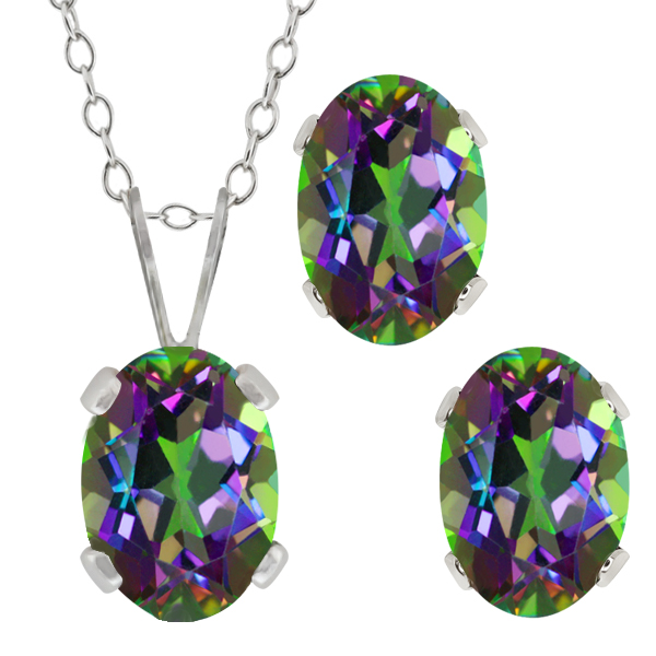 2.05 Ct Oval Green Mystic Topaz Gemstone Sterling Silver Pendant Earrings Set