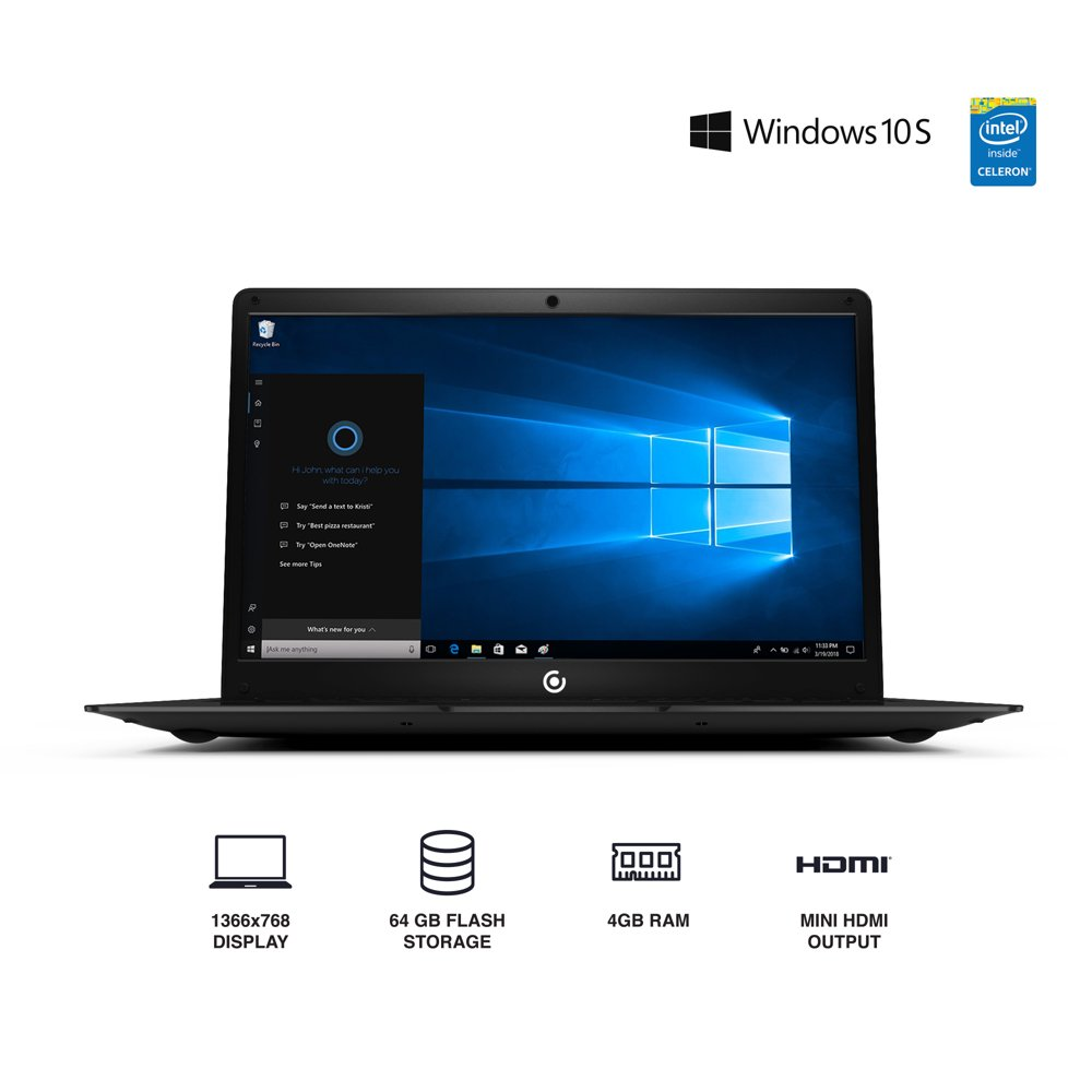 "Core Innovations CLT146401 14.1"" Laptop with Windows 10 S, Intel Atom 4GB RAM 64GB Flash Storage (Black)"