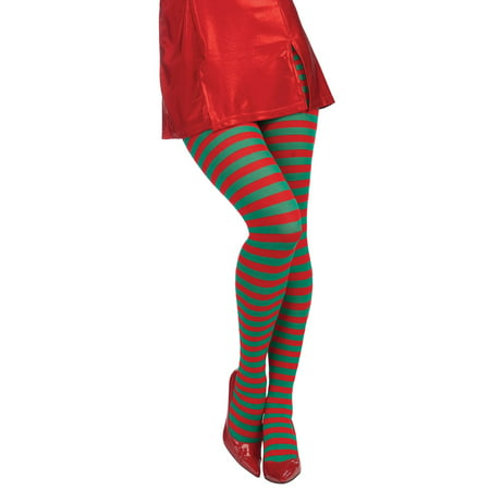Christmas Striped Red/Green Adult Tights - Halloween Striped Tights