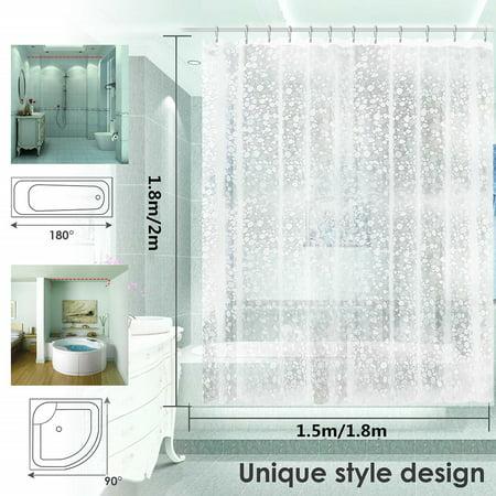 Waterproof Thicken Translucent 3D Cobblestone Pattern Shower Curtain with Hooks - image 4 de 5