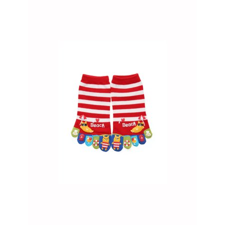 Unique Bargains Women's Stripes Lightweight Cartoon Pattern Toe Socks 1 Pack (Pink And Blue Striped Tights)