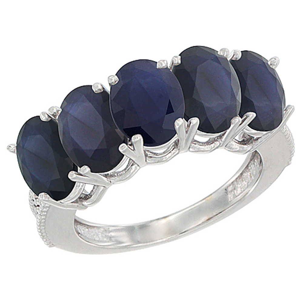 14K White Gold Natural Blue Sapphire 1.14 ct. Oval 7x5mm ...