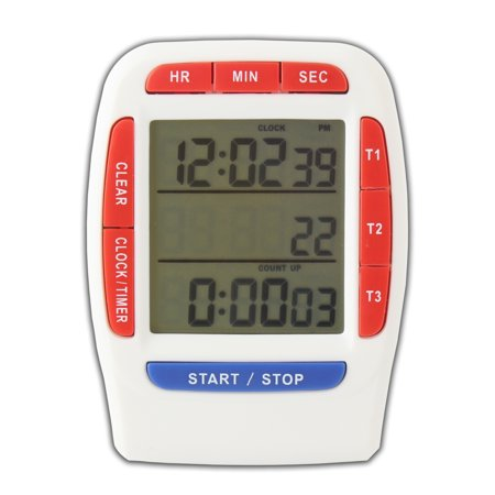 Digital Timer with LCD Display 3 Line Alarm Countdown Stopwatch,