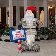 christmas decoration lawn yard inflatable airblown military santa 7 tall - Disney Outdoor Christmas Decorations Clearance