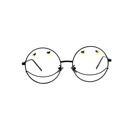 Womens Smiley Face Party Metal Round Circle Len Eye Glasses (Glasses For Oblong Face Female)