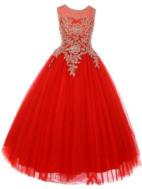 6a90ebf318f Product Image Little Girls Red Gold Rhinestone Cording Illusion Flower Girl  Dress