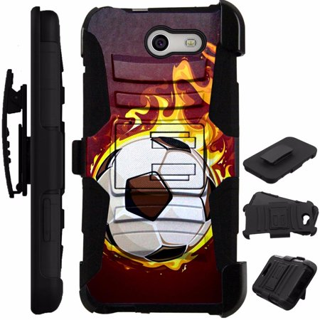 For Alcatel Zip Case Heavy Duty Cover Kick Stand LuxGuard Holster (Flaming Soccer Ball)