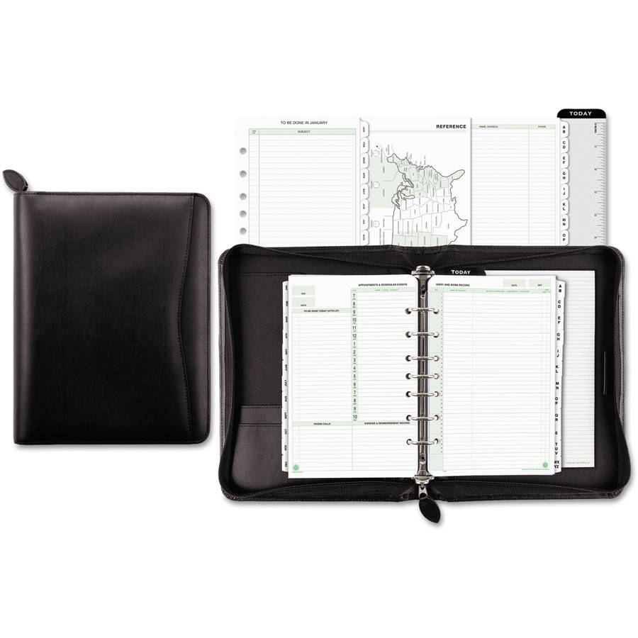 "Day-Timer Bonded Leather Organizer Starter Set, 5-1/2"" x 8-1/2"", Black"