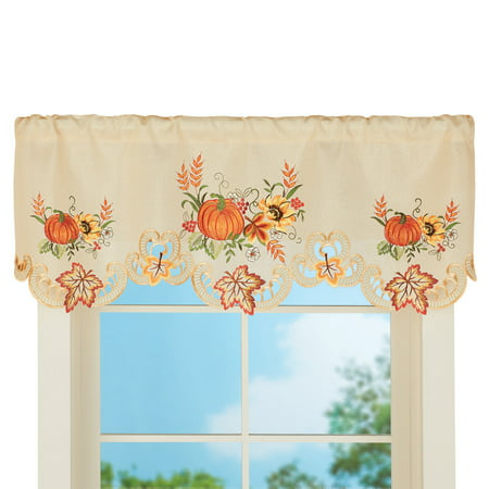 Fall Embroidered Pumpkins, Sunflowers and Leaves Window Valance Curtain Indoor Decoration - Fall Leaves Decorations