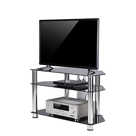 Tavr Black Tempered Glass Corner Tv Stand With Cable Management Suit