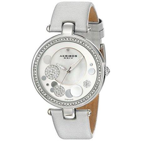 Women's AKR434 Diamond Sunray Diamond Dial Quartz Strap Watch (Strap Silver White Dial)