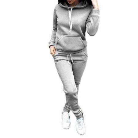 SNHENODA Autumn Winter Jogging Suits for Women Sport Suit Hooded Sweater Fleece Training Running Sport Clothes Gym Sports
