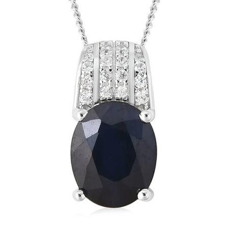 "925 Sterling Silver Blue Sapphire White Zircon Pendant Necklace 18"""