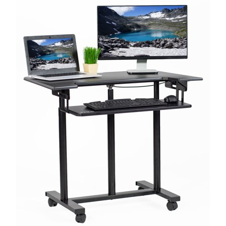 vivo mobile height adjustable stand up desk cart with sliding keyboard tray rolling. Black Bedroom Furniture Sets. Home Design Ideas