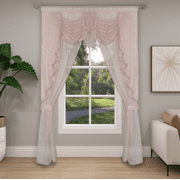 Ultra Glam Beaded Sparkly Sheer Window in a Bag Curtain Set - Rose