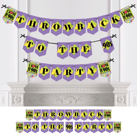 90's Throwback - 1990s Party Bunting Banner - Party Decorations - Throwback To The '90s - 90s Themed Party