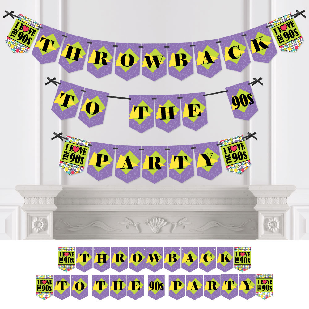 90's Throwback - 1990s Party Bunting Banner - Party Decorations - Throwback To The '90s Party