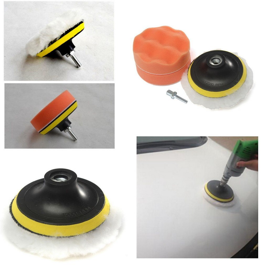 4 inch Polishing Buffer Sponge Pad Set + Drill Adapter For Car Polisher