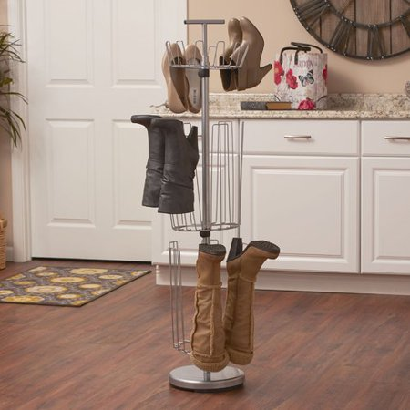 Revolving Shoe Tree (3 Tier 12 Pair Revolving Boot and Shoe Rack )