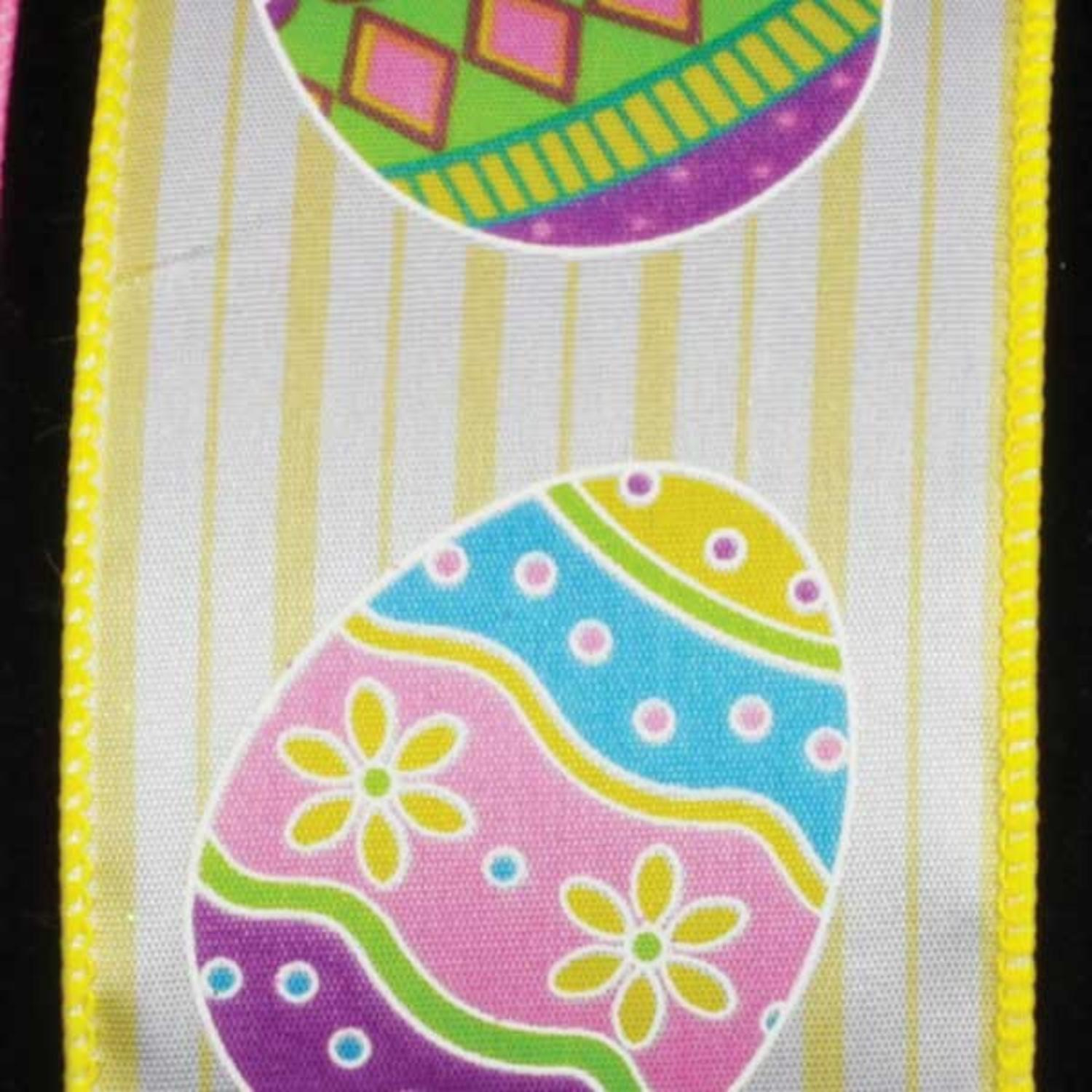 "Egg Hunt in Yellow Stripes Easter Wired Craft Ribbon 2.5"" x 40 Yards"