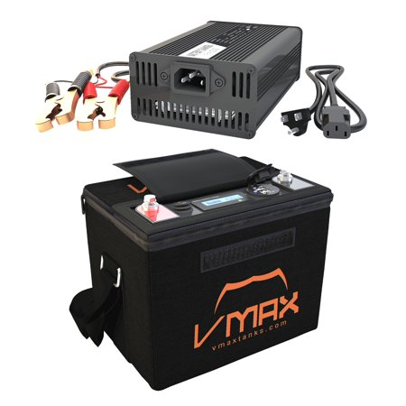 Generator Battery Chargers (VMAX VPG12C-50LFP LITHIUM 50AH 12V Battery Generator for camping + LIFEPO4 16.8V Charger + Carry Case)