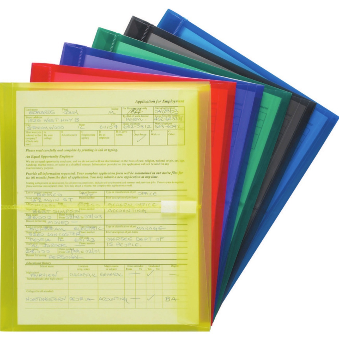 "Smead Envelope, 1-1/4"" Expansion, Hook-and-Loop Closure, Side Load, Letter Size, Assorted Colors, 6 per Pack (89669)"