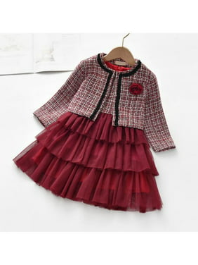 Winter Toddler Baby Girl Clothes Plaid Woolen Coat Tops+Tutu Dress Formal Outfit Set