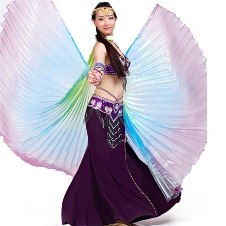 BellyLady Belly Dance Costume Isis Wings, Professional Dance Wings with Sticks-Purple - Belly Dance Costume