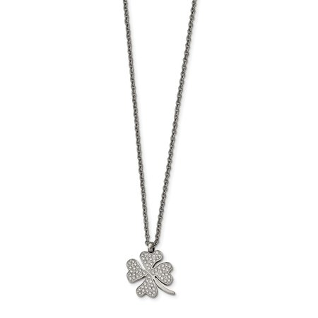 e9f5181f9 Jewelry Stores Network - Stainless Steel Polished CZ Four Leaf Clover  Necklace 22 Inches - Walmart.com