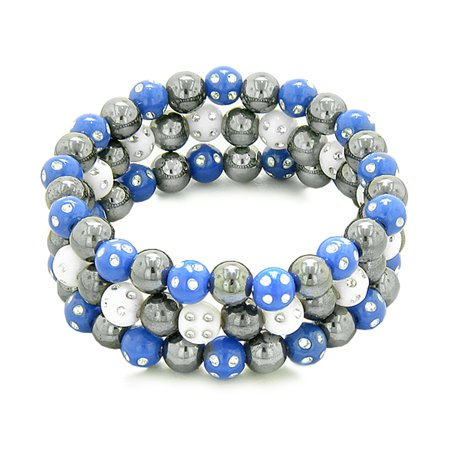 - Amulets Set of 3 Individual Simulated Hematite Magnetic Bracelets White Midnight Blue Sparkling Crystals