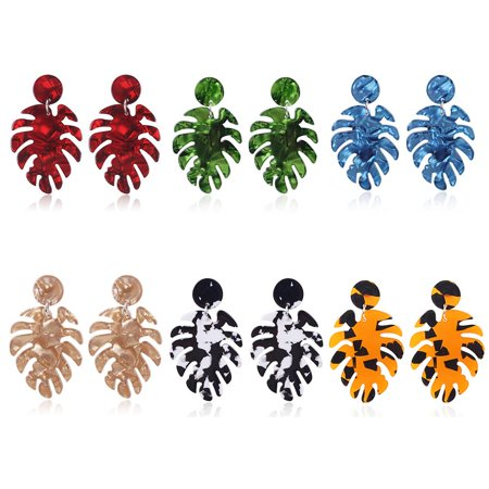 Ustyle 1 Pair Personality Leaf Earrings Big Plate Dangle Drop Earrings Women Girls Wedding Party Jewelry - image 2 de 9