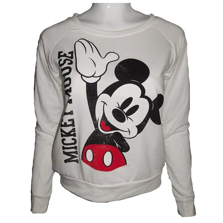 Women's Juniors Mickey Mouse Waving Long Sleeve Sweatshirt (Large) W6