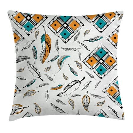 Feather House Decor Throw Pillow Cushion Cover Tribal Bohemian