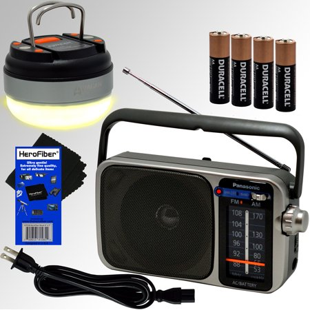 Panasonic Portable AM/FM Radio with Great Reception, Led Tuning Indicator, Compact Size + 4 AA Batteries + Dome Lantern Flashlight with 12 LED's for Camping & Emergencies + HeroFiber Cleaning Cloth Stealthlite 4 Aa Flashlight