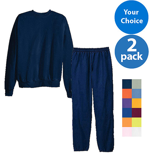 Hanes - Big Men's ComfortBlend Fleece Sweatpants and Crew Set, 2 Pack