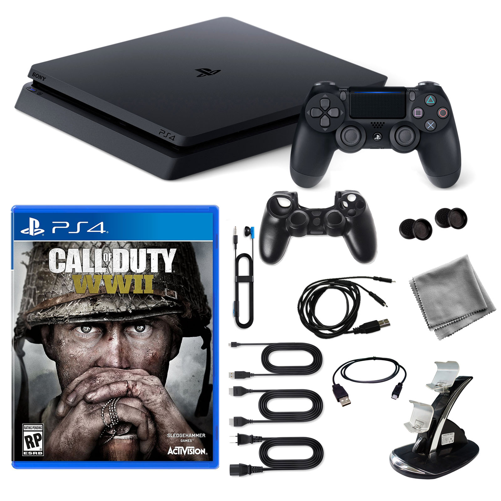Playstation 4 1TB Core Console with COD WWII Game and 9 in 1 Kit by PlayStation