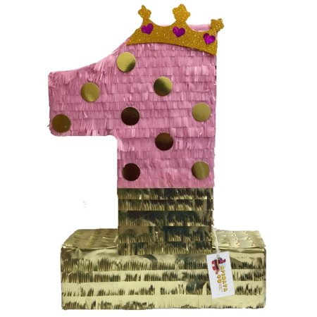 APINATA4U Large Pink & Gold Number One Pinata with Tiara 23