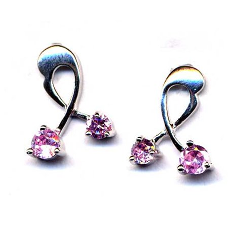 Dlux Jewels Sterling Silver-Pink Post Earring - image 1 of 1