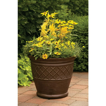 Better Homes And Gardens 22 Weathered Lattice Planter Chocolate