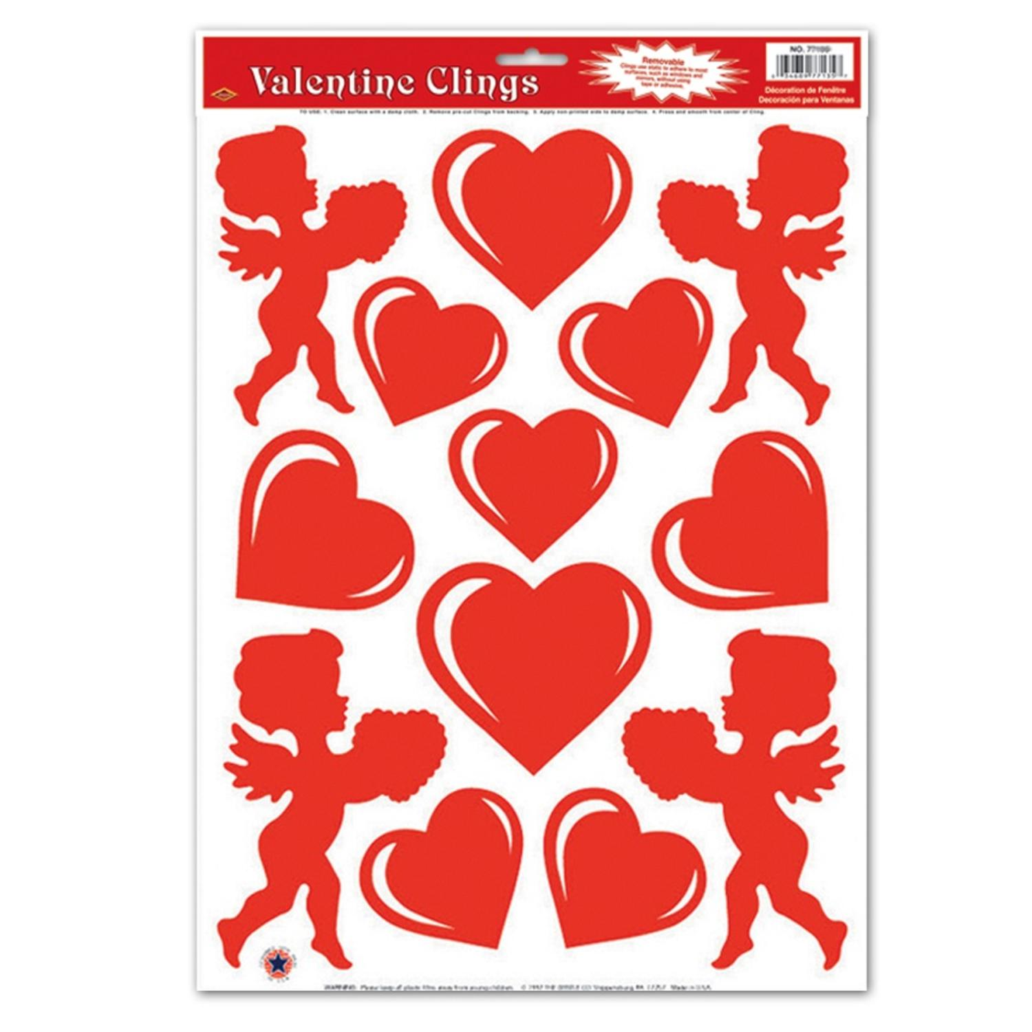 club pack of 156 red heart and cupid valentine window cling