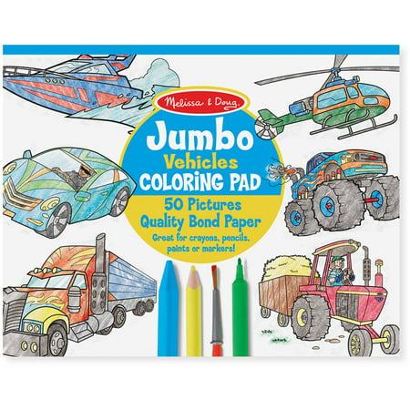 Melissa & Doug Jumbo Coloring Pad: Vehicles - 50 Pages of White Bond ...
